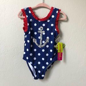 NWT Penelope Mack 2T Polk-a-dot anchor swimsuit